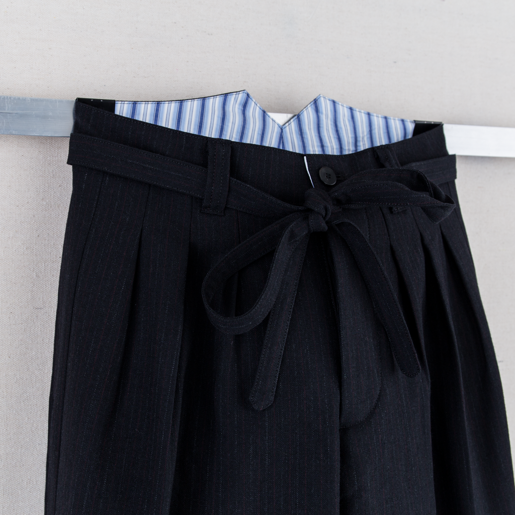 HAKAMA PANTS WOOL STRIPE - BLACK