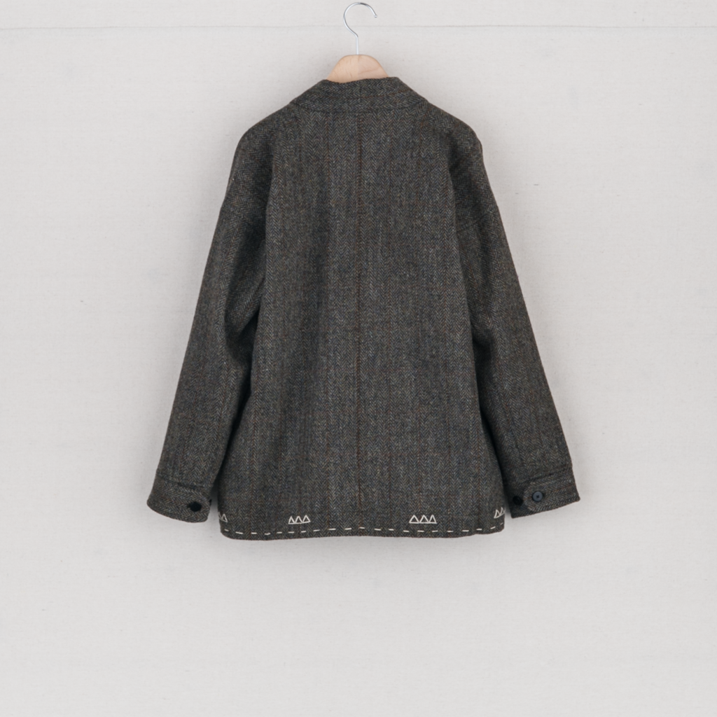 SANJURO JKT HARRIS TWEED - OLIVE