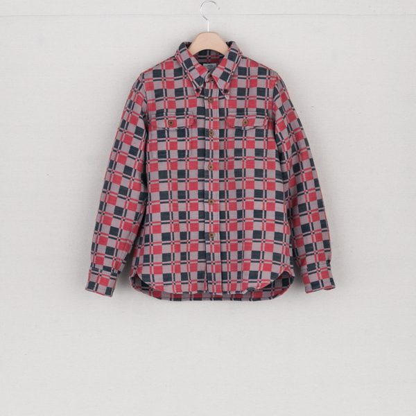 Wally Shirt (Indigo Dobby Check) - Pink