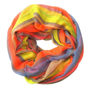 Vibrant Striped Design Fashionable Multicolor Infinity Loop Scarf - Le Miller Store