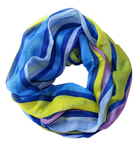 Vibrant Striped Design Fashionable Multicolor Infinity Loop Scarf - Le Miller