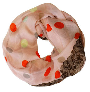 Polka Dot and Floral Graphic Print Infinity Loop Scarf - Le Miller