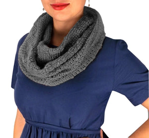 Womens Glamorous Chic Warm Knitted Winter Snood Infinity Loop Scarf - Le Miller Store