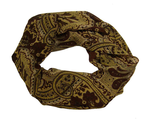 Vintage Brown Paisley Fashion Loop Scarf Scarves - Le Miller Store