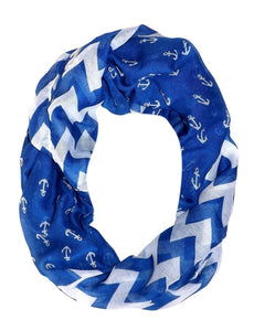 Soft Vintage Nautical Anchor Zig Zag Chevron Infinity Scarf Loop - Le Miller Store