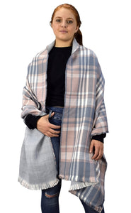 Plaid Tartan Herringbone Reversible Oversized Winter Blanket Scarf - Le Miller