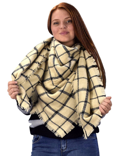 Warm Woven Oversized Tartan Plaid Blanket Scarf Shawl - Le Miller
