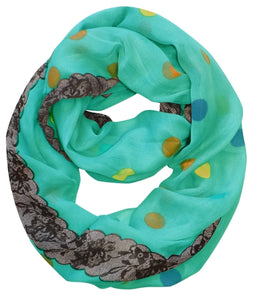 Polka Dot and Floral Graphic Print Infinity Loop Scarf - Le Miller Store