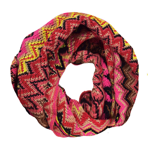 Chevron Multicolored Zigzag Knitted Loop Scarf - Le Miller
