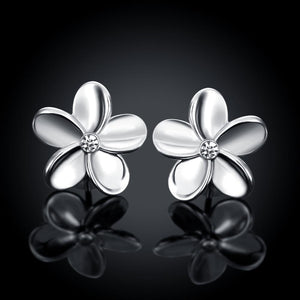 Crystal Flower Stud Earring in 18K White Gold Plated - Le Miller