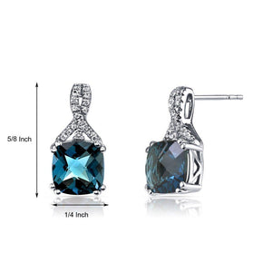 2.00 CT Cushion Cut London Blue Topaz Stud Earring in 18K White Gold - Le Miller