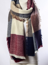 Burgundy & Blue Plaid Waffle Style Knit Blanket Scarf - Le Miller Store