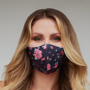 Black Bird Floral Face Mask - Le Miller Store
