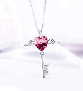 Heart Shaped Pink  Elements Dangling Key Necklace in 14K White Gold - Le Miller