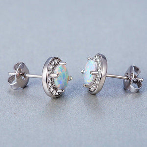 2.00 Ct Opal Created Round Halo Stud Earringin 18K White Gold Plated - Le Miller
