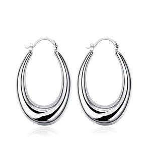 47mm Thick Cut Hoop Earring in 18K White Gold Plated - Le Miller