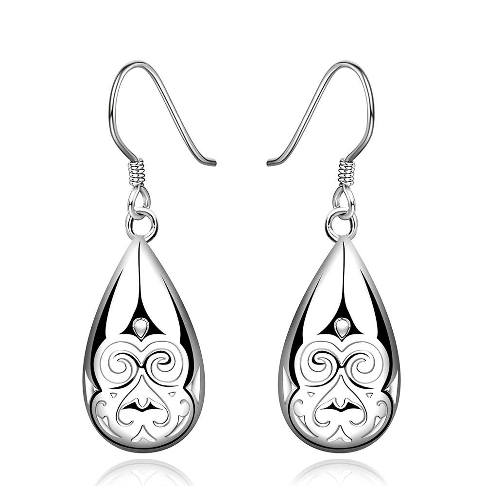 Filigree Drop Earring in 18K White Gold Plated - Le Miller
