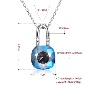 Lock in Sterling Silver Necklace with  Crystals - Le Miller