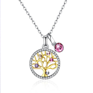 Tree of Life Sterling Silver Necklace with  Crystals - Le Miller