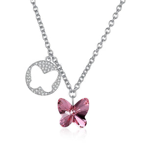 Butterfly Sterling Silver Necklace with  Crystals - Le Miller