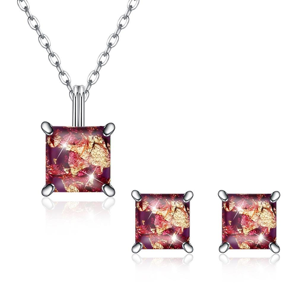 1.50 CT Opal Created Sterling Silver Necklace and Earring Set - Le Miller