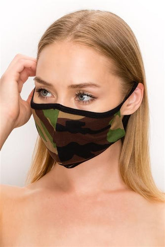FASHION MASK 101-CA2-camouflage print double layer contoured face - Le Miller Store