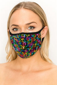 FASHION MASK 101-FL6-MULTI-SW315-sequin double layer contoured face - Le Miller Store