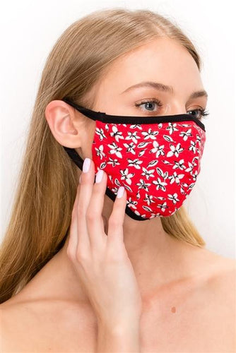 FASHION MASK SW538-MASK101-FL2-RED-floral double layer contoured face - Le Miller Store