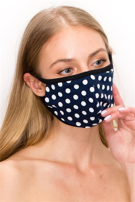 FASHION MASK SW543-MASK101-PD-NAVY-polka dot print double layer - Le Miller Store