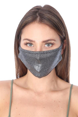 SW561- MASK101- METALLIC SILVER FACE MASK DOUBLE LAYER - Le Miller Store