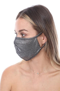 FASHION MASK SW561- MASK101- METALLIC SILVER FACE MASK DOUBLE LAYER - Le Miller Store