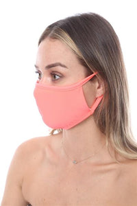 FASHION MASK SW562- MASK101-NEON ORANGE FACE MASK DOUBLE LAYER - Le Miller Store