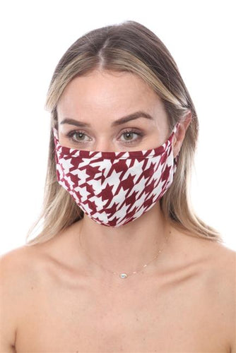 FASHION MASK SW563- MASK101- WINE WHITE HOUNDS TOOTH PRINT FACE MASK - Le Miller Store