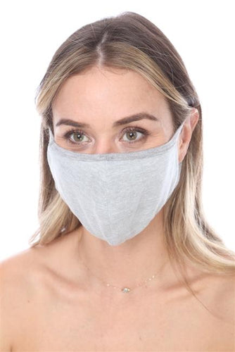 FASHION MASK SW566- MASK101-GREY SOLID FACE MASK DOUBLE LAYER - Le Miller Store