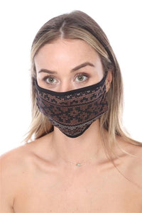 FASHION MASK SW567- MASK101-BLACK PRINT FACE MASK DOUBLE LAYER - Le Miller Store