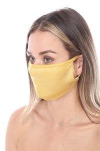 FASHION MASK SW575- MASK101 GOLD METALLIC FACE MASK DOUBLE LAYER - Le Miller Store