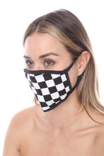 FASHION MASK SW578- MASK101 BLACK WHITE CHECKERS PRINT FACE MASK - Le Miller Store