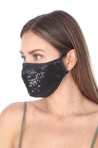 FASHION MASK 101 BLACK SEQUINS FACE MASK DOUBLE LAYER - Le Miller Store