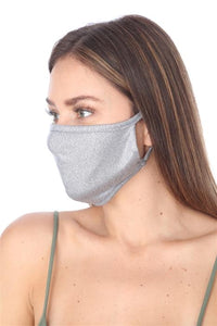 FASHION MASK 101 METALLIC GREY FACE MASK DOUBLE LAYER - Le Miller Store