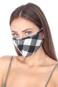 FASHION MASK 101 WHITE BLACK PLAID FACE MASK DOUBLE LAYER - Le Miller Store