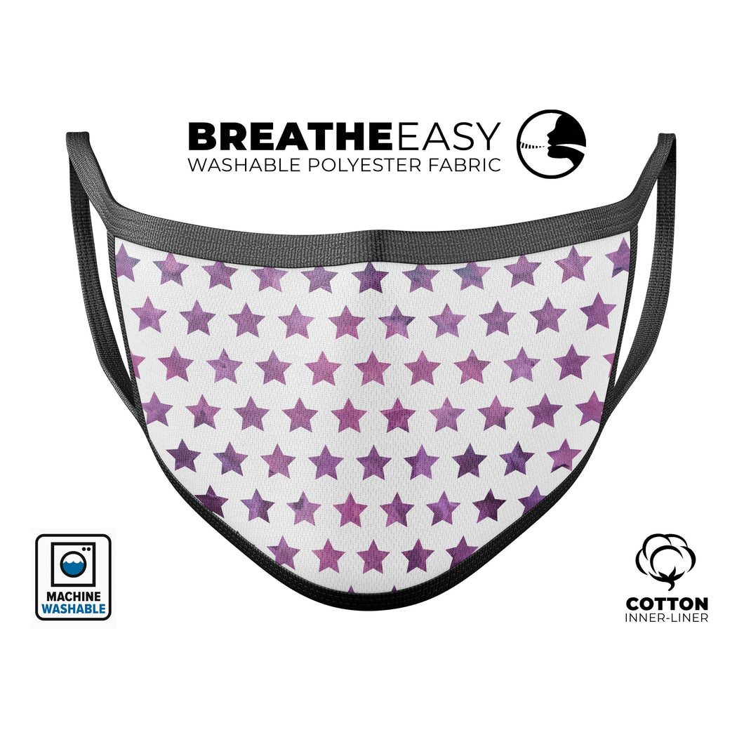 The Purple Grunge All Over Stars  - Made in USA Mouth Cover Unisex - Le Miller Store