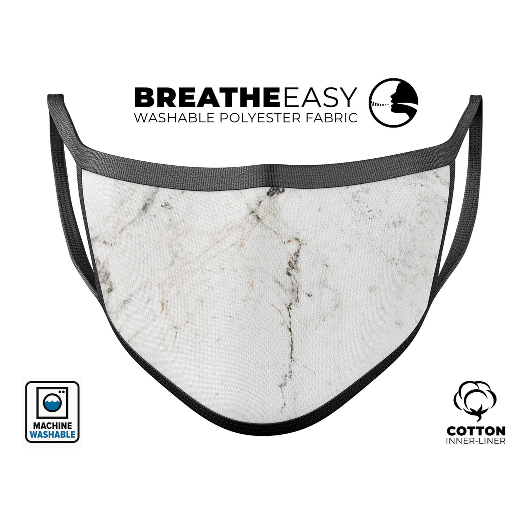 White Grungy Marble Surface - Made in USA Mouth Cover Unisex Anti-Dust - Le Miller Store