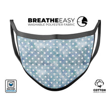 White Polka Dots over Pale Blue Watercolor - Made in USA Mouth Cover - Le Miller Store