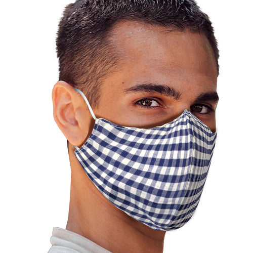 Navy Gingham Face Mask - Le Miller Store