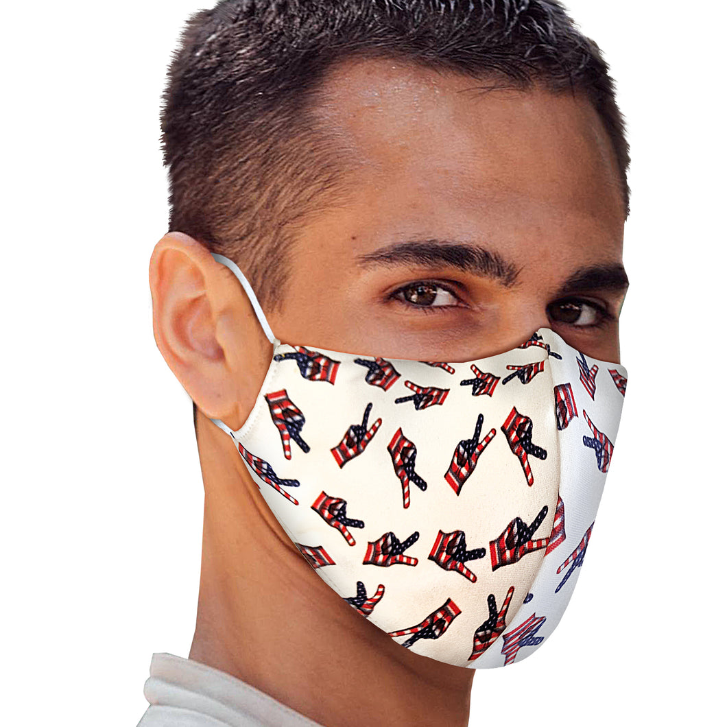 USA Peace Sign Fingers Face Mask - Le Miller Store
