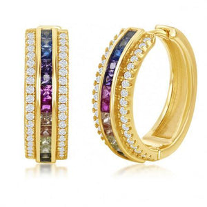 18K Gold Plated Rainbow  Pav'e Hoop Earrings - 2 Styles - Le Miller