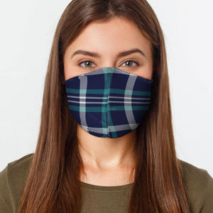 Navy Teal Plaid Face Cover - Le Miller Store