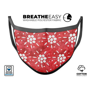 the Red WAtercolor Floral Pedals - Made in USA Mouth Cover Unisex - Le Miller Store