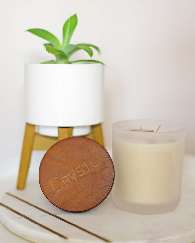 BALANCE ~ Vanilla Bean, Coconut & Caramel, Crystal infused scented candle 50 hr burn time