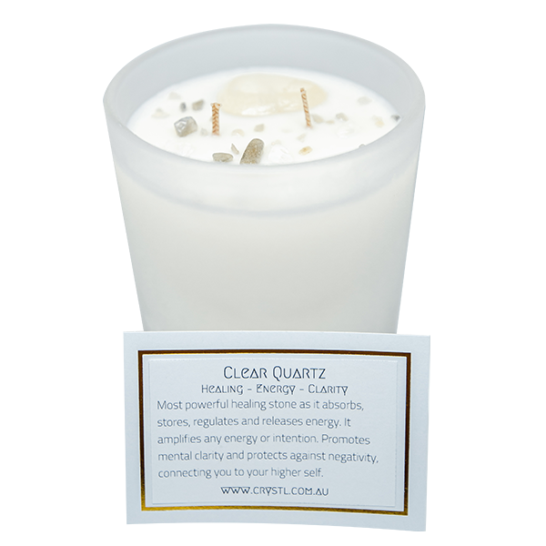 ENERGISE  ~ Crystal Infused scented soy candle 65 hr burn